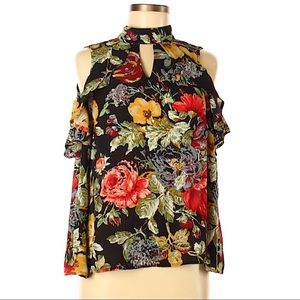 Meraki Cold Shoulder Floral Ruffle Top Med